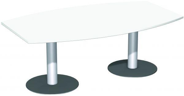 Konferenztisch Fassform 2 Säulenfüße in Silber, Weiß