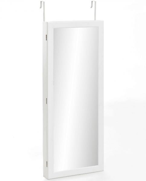 Wandspiegel WL5.719 Schmuckspiegel Weiß 46x130x9 cm Schmuckschrank