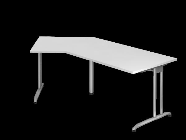 Winkeltisch BS21 C-Fuß 210x113cm 135° Weiß Gestellfarbe: Silber