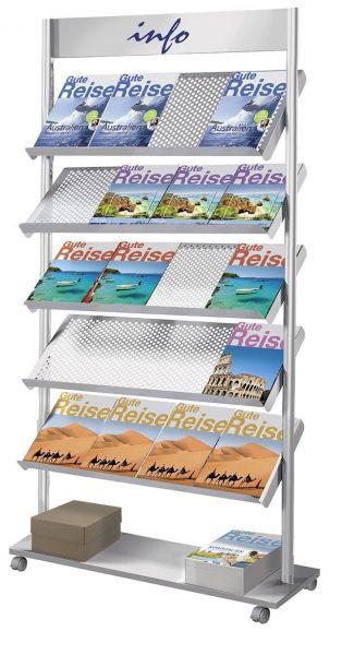 Prospektständer Rico 20 x A4, mit 5 Prospektablagen aus Lochstahl