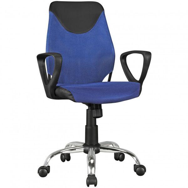 Kinder Schreibtischstuhl Jugenstuhl KiKa, ergonomisch, höhenverstellbar, Schwarz Blau