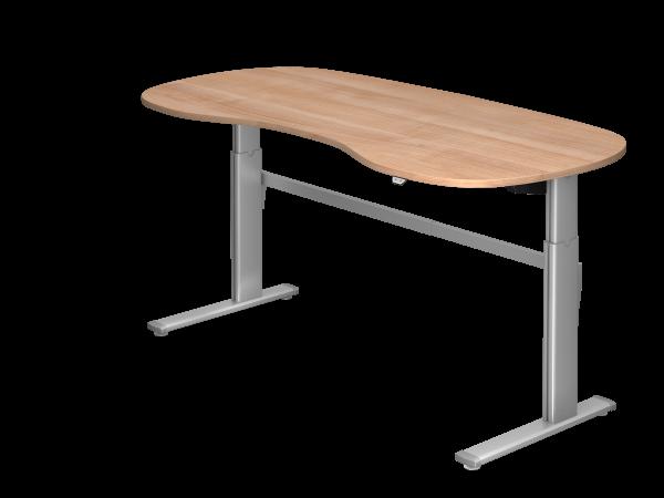 Sitz-Steh-Nierentisch elektrisch 200x100cm Nussbaum Gestellfarbe: Silber