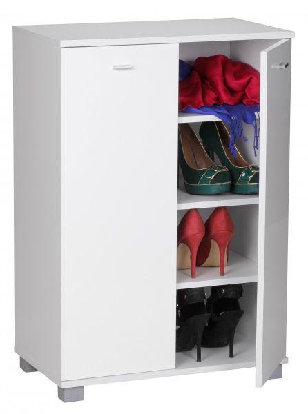 Schuhschrank 2-Türig für 12 Paar Schuhe, Weiß, 60 x 90 x 35 cm