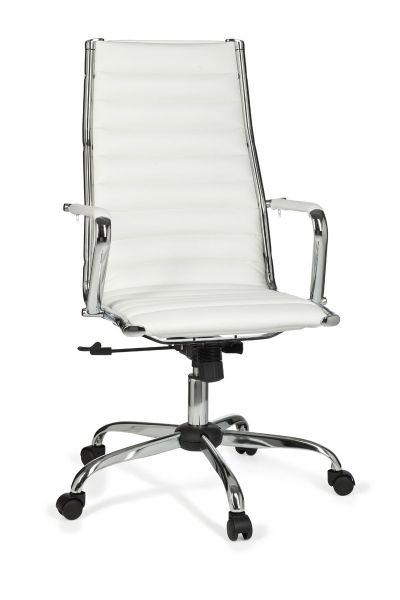 GENF Bürostuhl, Schreibtischstuhl, Chefsessel, höhenverstellbar, Kunstleder Weiß