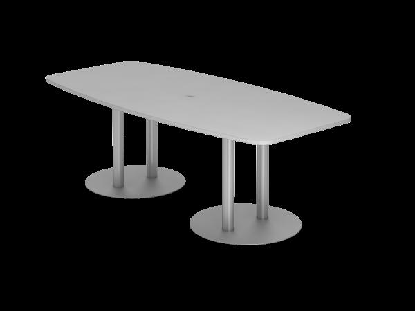 Konferenztisch KT22S 220x105cm Grau Säulenfuße Gestellfarbe: Silber