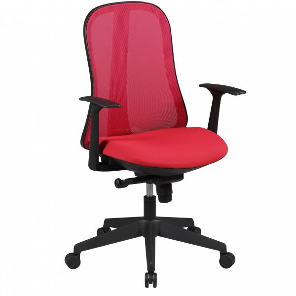 STYLE Bürostuhl, Schreibtischstuhl mit Synchronmechanik, Stoff- und Netzbezug, Rot