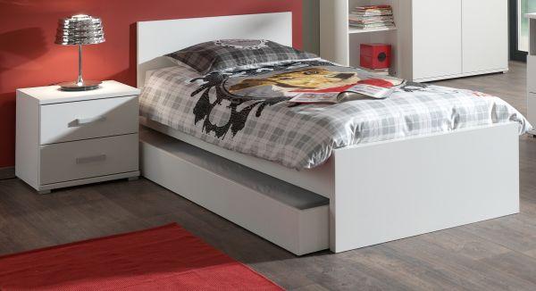 Set Milan best. aus Einzelbett 90x200, Bettschublade und Nachtkonsole, Weiß