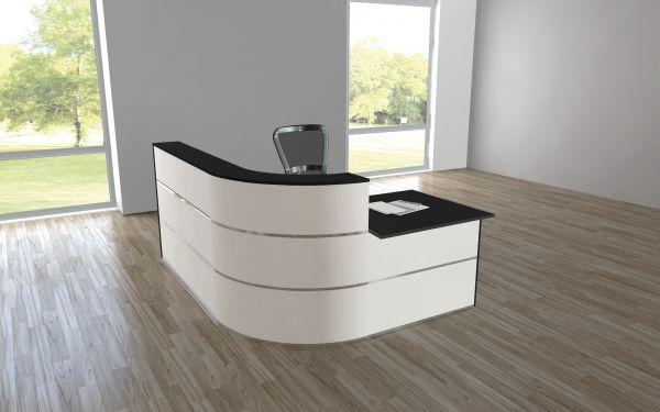 Design Empfangstheke Rezeptionstheke Cento 4, 195x180cm Weiß Anthrazit