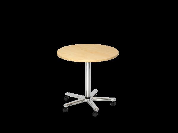 Säulenhubtisch rund, 80cm, Ahorn / Chrom