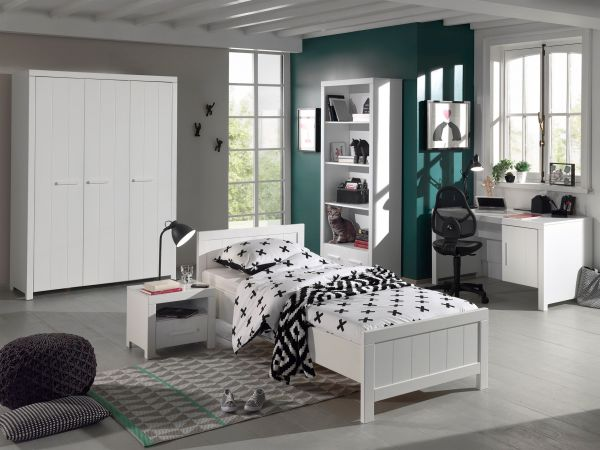 Set Erik best. aus: Einzelbett, Nachtkonsole, Kleiderschrank 3-trg., Schreibtisch, Regal, Weiß