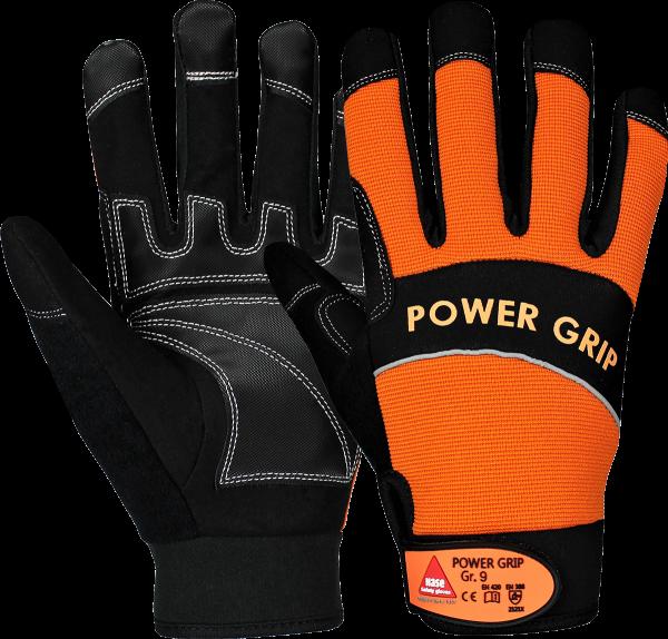 10 Paar - POWER GRIP schwarz / orange, 5 Finger -Handschuhe Neoprene