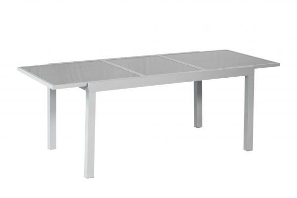 Ausziehtisch, 180 (240) x 100 cm, graue Glasplatte