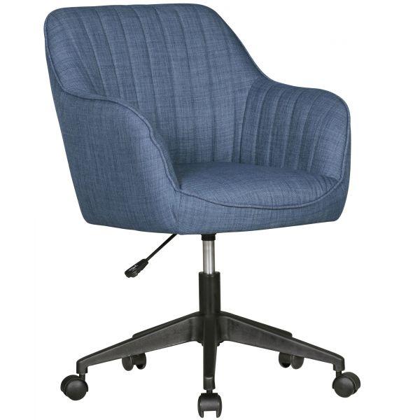 Schreibtischstuhl MARA Blau Stoff Design Drehstuhl