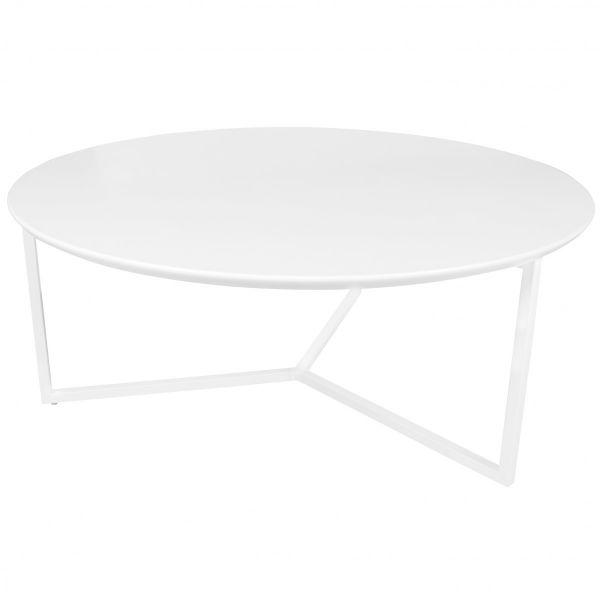 Design Couchtisch, Gestell Metall, MDF Holz weiß matt, ø 80 cm