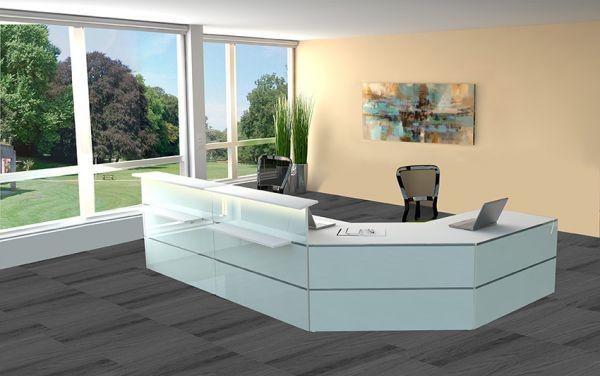 Empfangstheke Atlantis Ausführung 15, 385x250cm Weiß / Glas