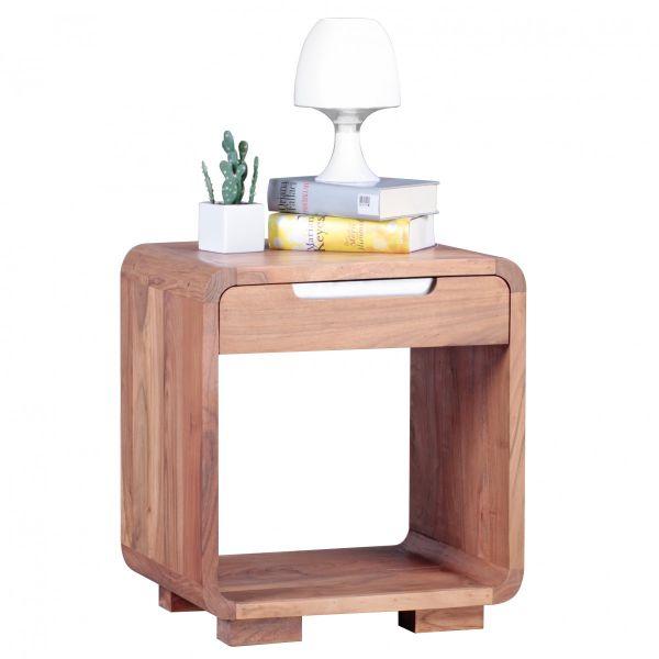 Nachttisch mit Schublade, 55 cm hoch, Massiv-Holz, Akazie