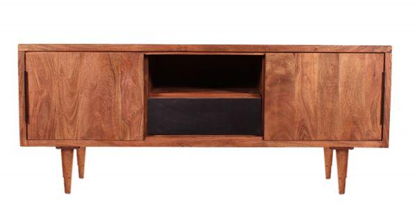MID CENTURY Sideboard, Akazie, natur mit schwarzer Schublade