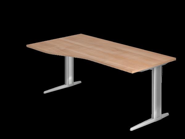 Schreibtisch XS18 C-Fuß 180x100 / 80cm Nussbaum Gestellfarbe: Silber