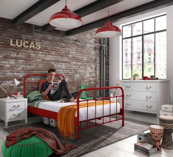 Metallbett New York Liegefläche 120 x 200 cm, Rot