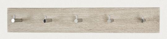Garderobenleiste, Eiche - Chrom, MDF, Stahl, 57x5x8cm