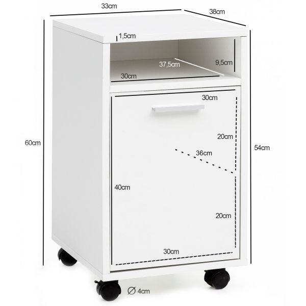 Rollcontainer Weiß Schubladenschrank Büro Container 33x60x38cm , Weiß