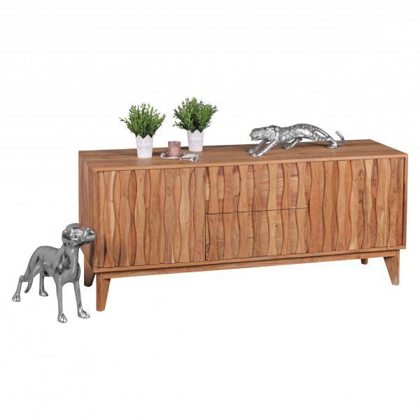 Sideboard mit 2 Schubladen 2 Türen, Massivholz, Akazie, 160 cm