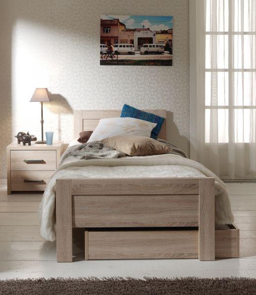 Set Aline best. aus Einzelbett 90x200, Bettschublade und Nachtkonsole, Sonoma Eiche Dekor