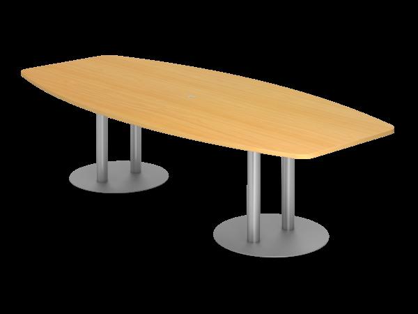 Konferenztisch KT28S 280x130cm Säulenfuß Buche Gestellfarbe: Silber