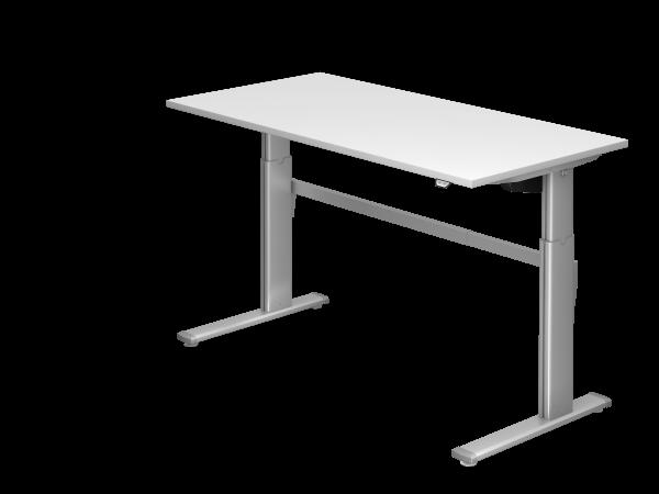 Sitz-Steh-Schreibtisch elektrisch XM16 160x80cm Weiß Gestellfarbe: Silber