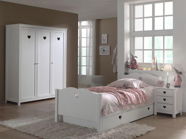 Set Amori best. aus: Einzelbett, Bettschublade, Nachtkonsole und Kleiderschrank 3-trg., Weiß