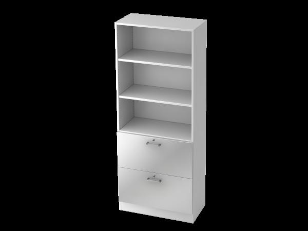 Regal 7300 5 OH, 2 HR, Sockelblende CE Weiß / Silber
