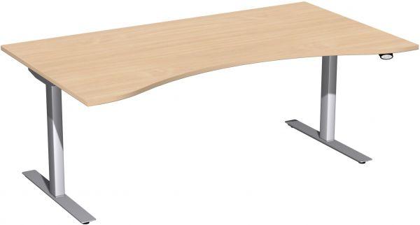 Elektro-Hubtisch, höhenverstellbar, 180x100cm, Buche / Silber