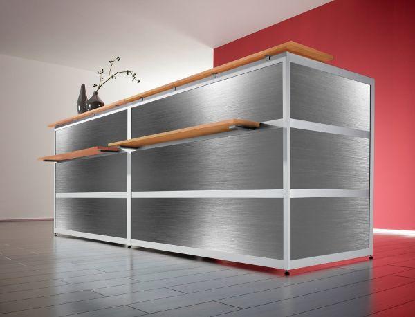 Empfangstheke Edelstahl / Buche / 297x110x85 cm | Büro > Bürotische > Konferenztische | BST-Design