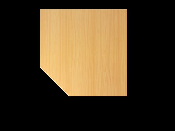 Verkettungsplatte trapezförmig mit Stützfuß LT12 Buche Gestellfarbe: Silber