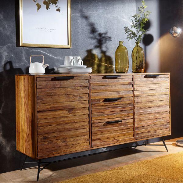 Design Sideboard NISHAN 160 x 40 x 88 cm Sheesham Massiv Holz