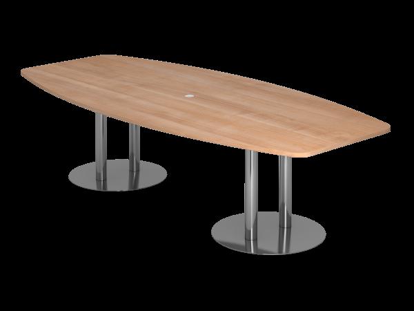 Konferenztisch KT28S 280x130cm Säulenfuß Nussbaum Gestellfarbe: Chrom
