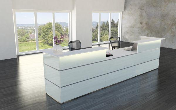 Empfangstheke Rezeption 4m Atlantis Weiß Glas inkl. LED