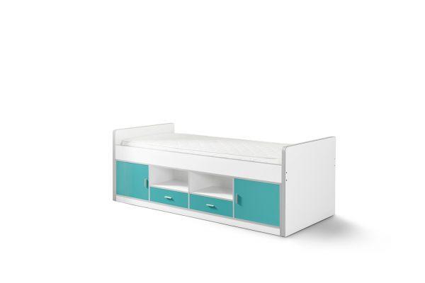 Kojenbett Kinderbett Bonny, Weiß / Türkis