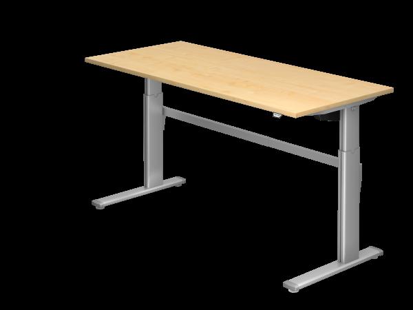 Sitz-Steh-Schreibtisch elektrisch 180x80cm Ahorn Gestellfarbe: Silber