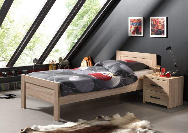 Set Aline best. aus Einzelbett 90x200 und Nachtkonsole, Sonoma Eiche Dekor hell