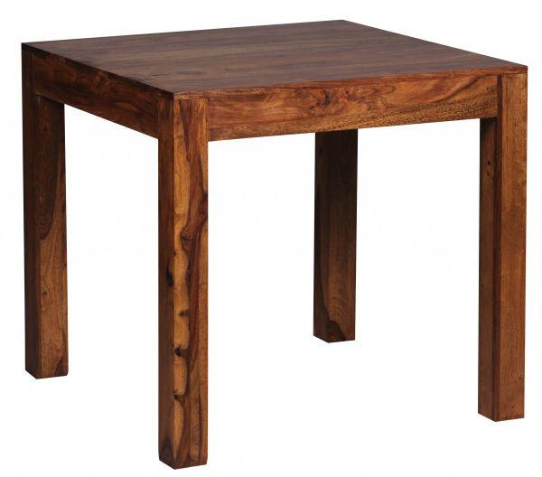 Esstisch Massivholz Sheesham 80 cm Esszimmer-Tisch Holztisch Design Küchentisch Landhaus-Stil dunkel