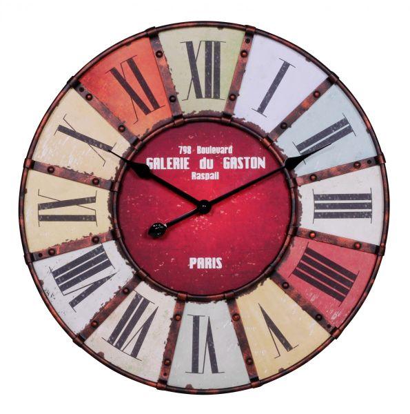 Wanduhr, Küchenuhr, modern, Römische Ziffern, mehrfarbig, Ø 60 cm