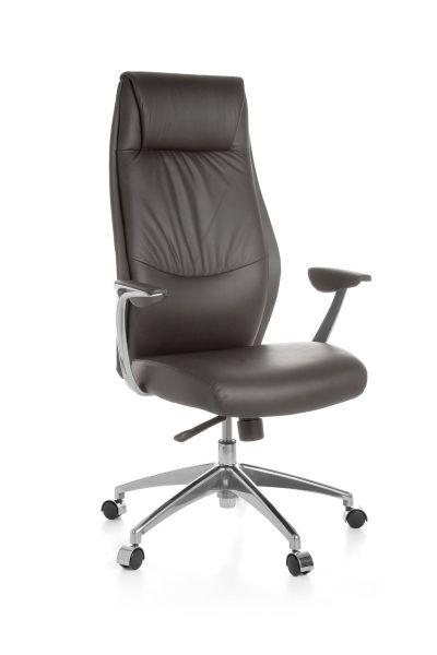 OXFORD Bürostuhl, Schreibtischstuhl, Chefsessel, Synchronmechanik, Echtleder Braun