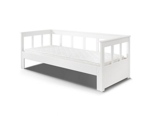 Funktionsbett mit Auszug & erweiterbarer Liegefläche 90 – 180 x 200, Kiefer massiv weiß