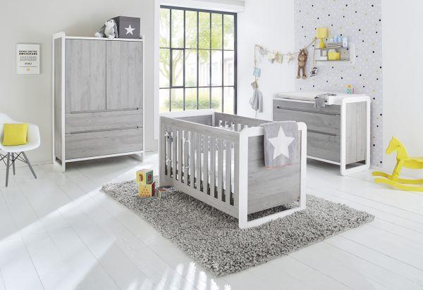 Kinderzimmer 'Curve' breit, weiß / Esche