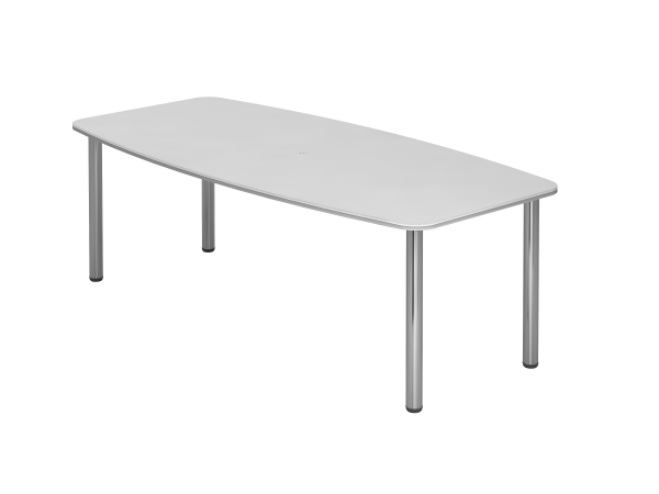 Konferenztisch KT22C 220x105cm Weiß 4-Fuß Gestellfarbe: Chrom