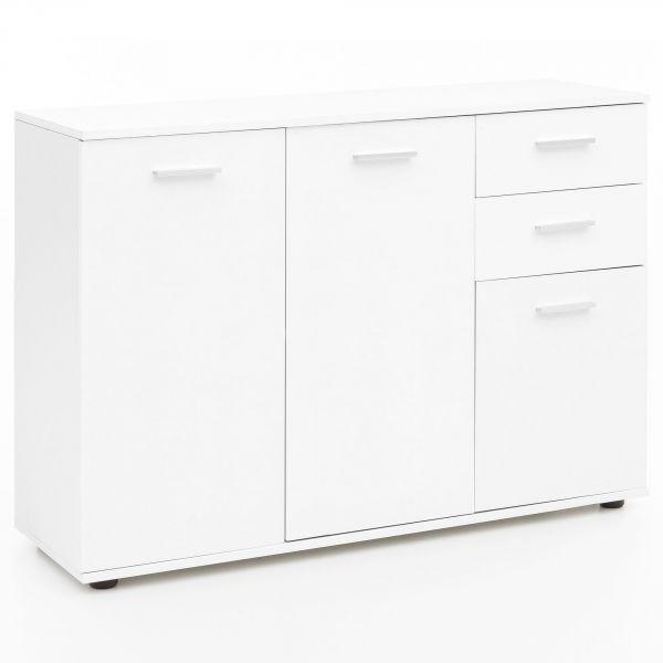 Kommode WL5.289 mit Türen & Schubladen 107x79x35 cm Schrank Holz Weiß