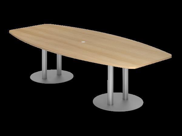 Konferenztisch KT28S 280x130cm Säulenfuß Eiche Gestellfarbe: Silber