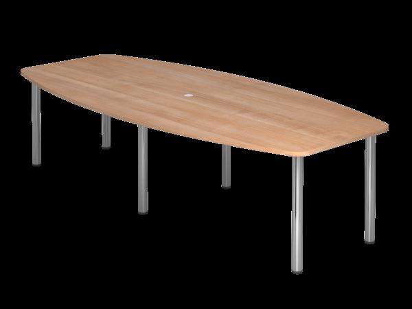 Konferenztisch KT28C 280x130cm Nussbaum 6-Fuß Gestellfarbe: Chrom
