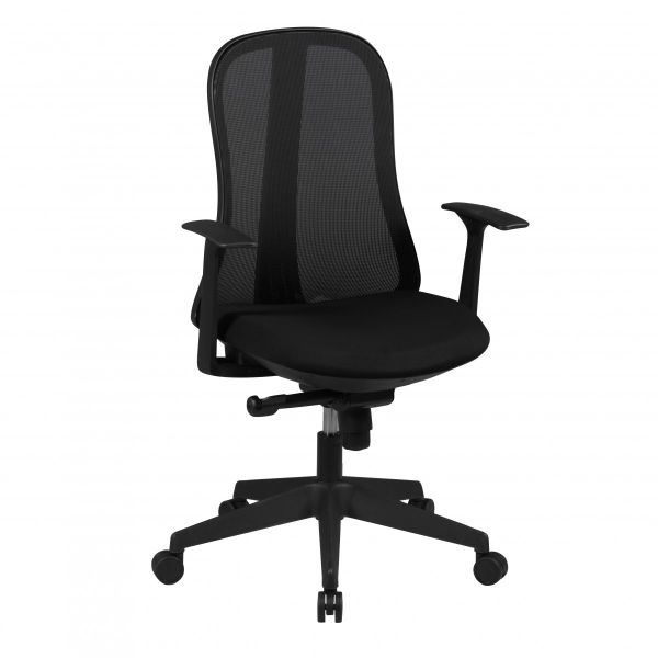STYLE Bürostuhl, Schreibtischstuhl mit Synchronmechanik, Stoff- und Netzbezug, Schwarz
